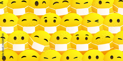 Fototapeta Pattern Background with Various Yellow Emoticons Wearing Medical Mask - Vector Design obraz