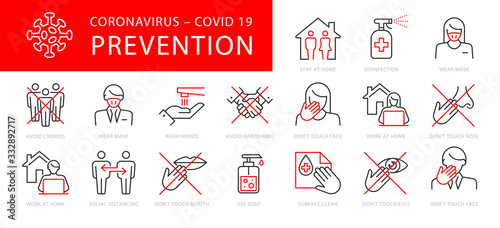 Fotomural Coronavirus Prevention Vector Illustration Set