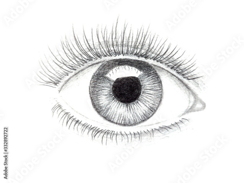 Illustration of human eye drawn with pencil Fototapeta
