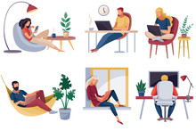 Set Of People Who Work At Home...