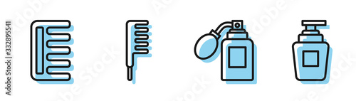 Photo Set line Aftershave bottle with atomizer, Hairbrush, Hairbrush and Bottle of shampoo icon