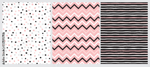 Set of 3 Geometric Seamless Vector Patterns with Chevron, Stripes and Polka Dots Canvas Print