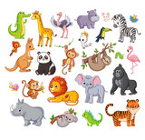 Fototapeta Fototapety na ścianę do pokoju dziecięcego - Big vector set with animals in cartoon style. Vector collection with mammals