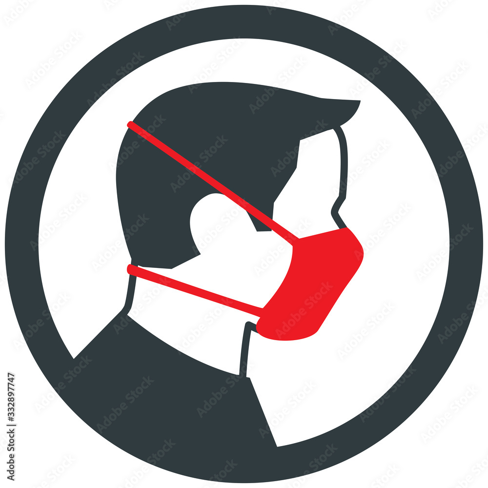 Fototapeta Male wearing red medical face mask. Vector icon