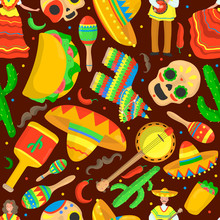 Mexico Culture Isolated Seamless Pattern On Dark Background. Mexican Ethnic Symbol: Dancing Woman, Sombrero Hat, Guitar, Cactus, Painted Skull, Taco, Man. Creative Cartoon Style. Vector Illustration.