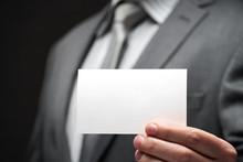 White Blank Business Card Clos...
