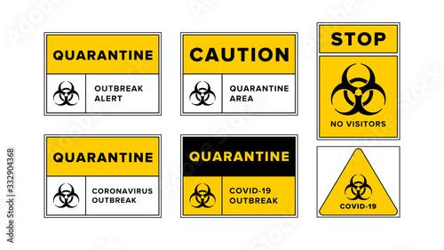 Quarantine outbreak alert templates set with biohazard symbol, Novel Coronavirus COVID-19 disease outbreak control Wallpaper Mural