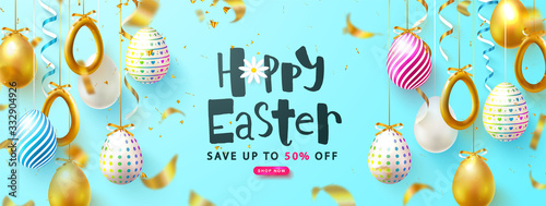 Easter Sale Background with decorated eggs and flying serpentine Canvas Print