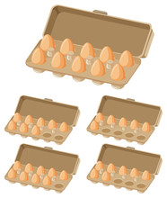 Set Of Cartons Of Eggs With Different Numbers Of Eggs In It