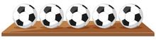 Five Soccer Balls On Wooden Bo...