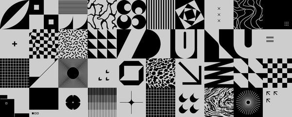 Fototapeta Czarno-biały Monochrome Abstract Vector Pattern Design