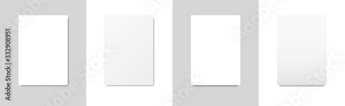 Stampa su Tela Set of templates of blank white sheets of A4 paper with different shadow