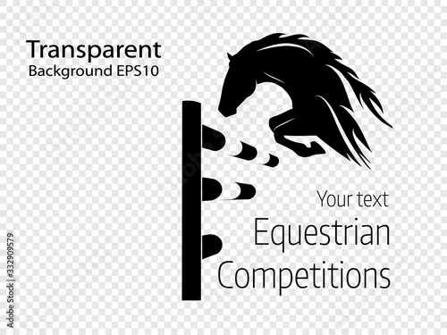 Fototapeta Equestrian competitions - vector illustration of jumping horse on transparent background - logo obraz
