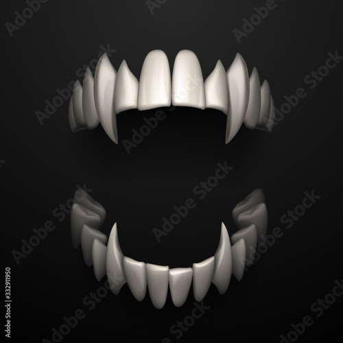 Open jaws with big fangs on black background Canvas-taulu