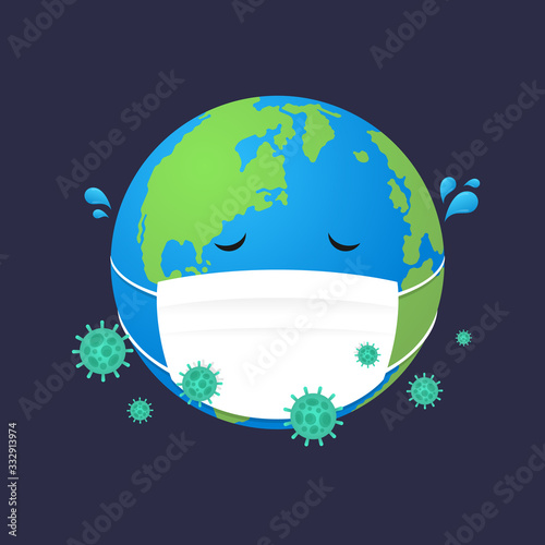 Globe is infected with a disease , world is sick vector design