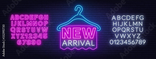 New arrival neon sign on dark background Canvas Print
