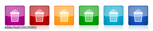 Trash, can icon set, colorful square glossy vector illustrations in 6 options fo Wallpaper Mural