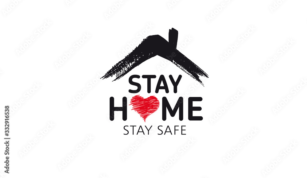 Fototapeta Stay home stay safe doodle illustration. Quarantine. Pandemic coronavirus.