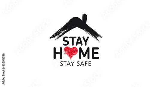 Fotografía Stay home stay safe doodle illustration