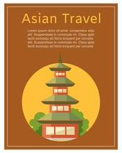 Japan Asian Travel Concept With Japan Landmarks, Temple Pagoda Vector Illustration. Adventure In Japan Travel Agency Poster.