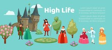 High Life People In Renaissance Clothing Woman Man Cartoon Character In Medieval Fashion Vintage Dress Historical Clothes Vector Illustration. High Life Society Costumes.