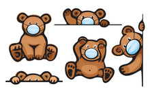 Vector   Bears Cartoon In Mas...