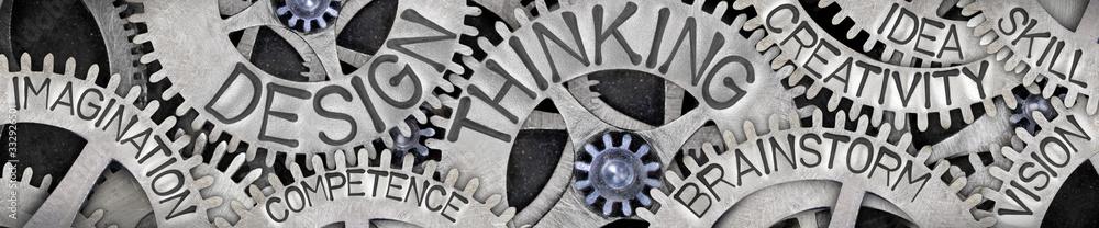 Fototapeta Metal Wheels with Design Thinking Concept