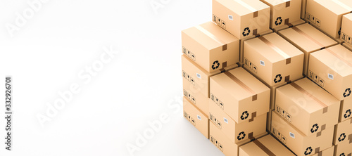 Cardboard boxes with empty space on left side, logistics and delivery concept Fototapete