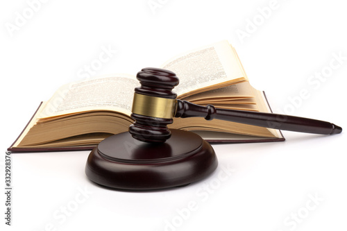 Wooden judges gavel on white background in close up Wallpaper Mural