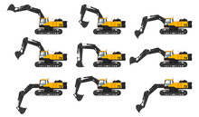 Set Of Digger Hydraulic Excavator With Different Dipper Position Isolated On White Background, Vector Illustration