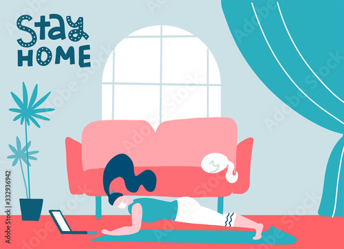 Obraz Sport exercise at home. Woman in medical mask doing workout indoor. Yoga and fitness, healthy lifestyle. Quarantine, stay at home, web banner, poster. Stop covid-19. Flat vector illustration - fototapety do salonu