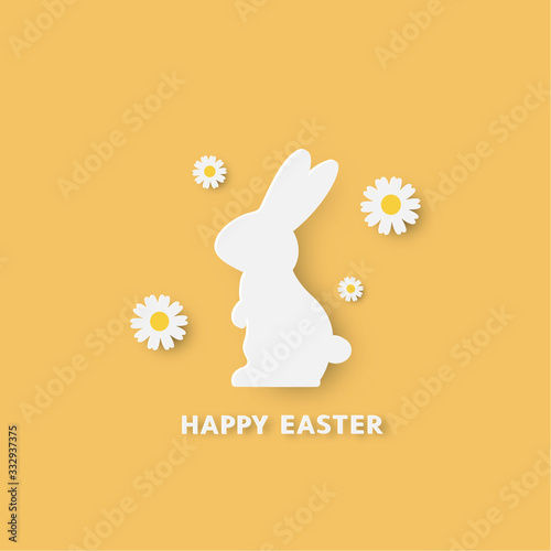 Happy easter paper cut style with bunny and flower that look cute on yellow background. For easter day, invitation, greeting card, posters and wallpaper. Vector illustration.