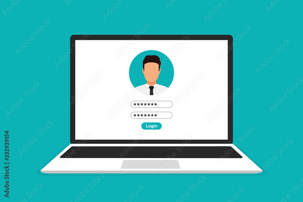 Fototapeta Laptop with login form page on screen. Vector illustration