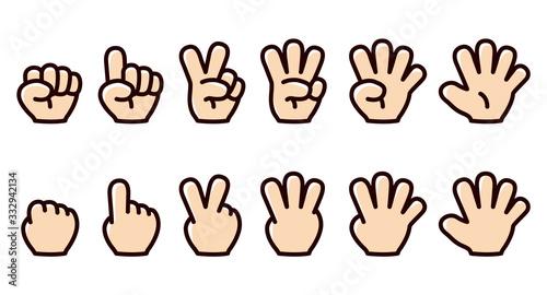 Fotografie, Tablou 指で数字を表したイラスト/ハンドサイン