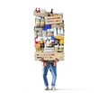 canvas print picture Man holds a box with a huge pile of food