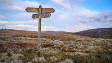 Signpost For Pennine Way On The Cheviot Hills, At Brownhart Law, A Summit On The Line Of The Scottish - English Border In The Cheviot Hills