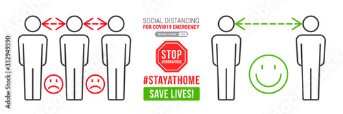 Obraz na plátně Social distancing infographics