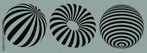Valokuva 3D geometric striped rounded shape