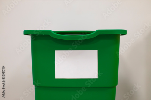 Fotografie, Obraz soft focus trash can white background indoor space for copy or your text here cl