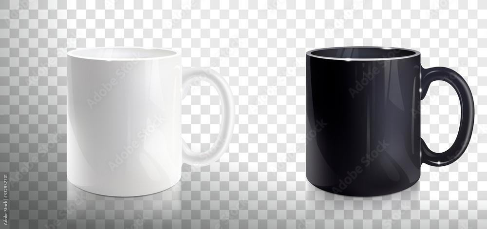 Fototapeta Empty White and Black Mugs