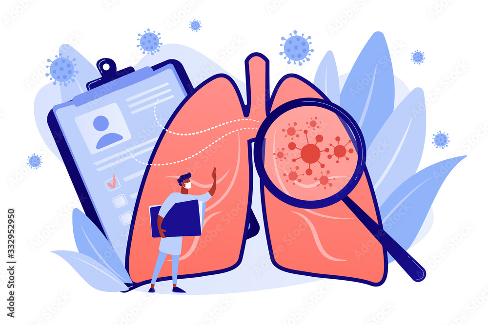 Fototapeta Covid-2019 symptoms, damaged lungs, fever, positive pcr test . Cough, shortness of breath, lungs ventilation, death toll, healthcare system collapse concept. Coral blue vector isolated illustration