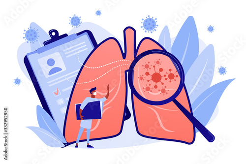 Obraz Covid-2019 symptoms, damaged lungs, fever, positive pcr test . Cough, shortness of breath, lungs ventilation, death toll, healthcare system collapse concept. Coral blue vector isolated illustration - fototapety do salonu
