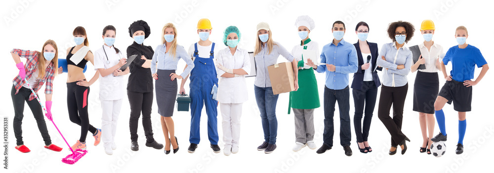 Fototapeta coronavirus, pandemic, health care and unemployment concept - set of different people in protective mask isolated on white