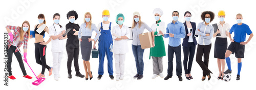 Fototapeta coronavirus, pandemic, health care and unemployment concept - set of different people in protective mask isolated on white obraz