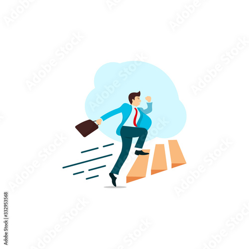 Photo Business Man or Career Acceleration Logo Design Inspiration Vector Stock - Premi
