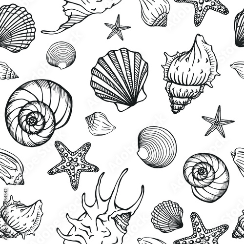 Obraz na plátně Seamless pattern with seashells, corals and starfishes