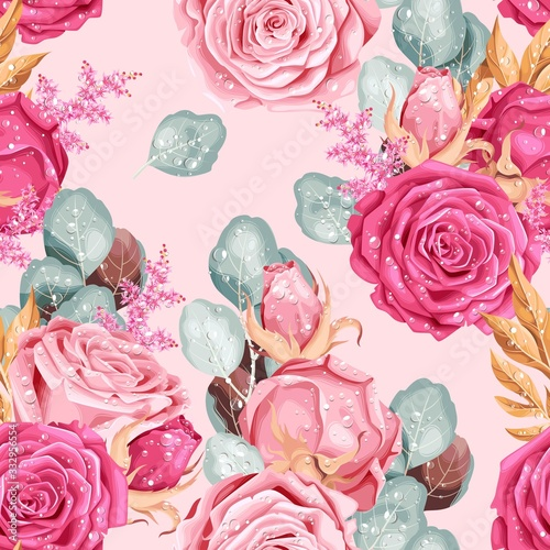 Vintage vector seamless pattern with pink roses Fototapete