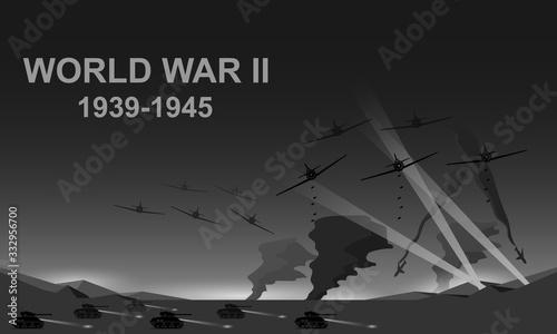 World War II 1939-1945 black and white vector illustration Canvas Print