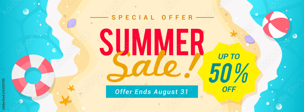 Fototapeta Summer sale banner vector illustration. top view of summer beach waves background