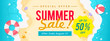 Summer sale banner vector illustration. top view of summer beach waves background